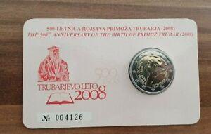 Coincard-mit-2-Euro-Gedenkmuenze-Slowenien-2008-BU-P-Trubar