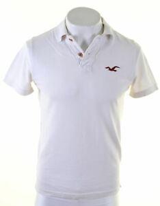 HOLLISTER-Mens-Polo-Shirt-Medium-White-Cotton-BX24