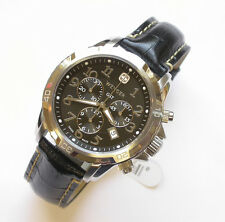 NEW $550 GENTS WENGER 43MM BLACK DIAL 100M WR GST STRAP CHRONOGRAPH WATCH #78255