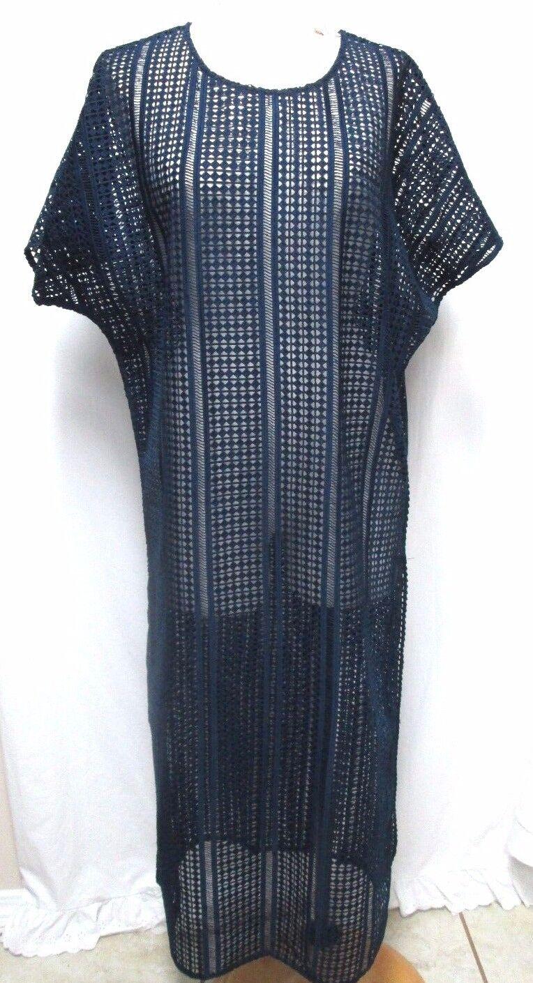 Mikoh long navy cover-up tunic dress w  Side Slits Sz Größe 1 Small Sm S