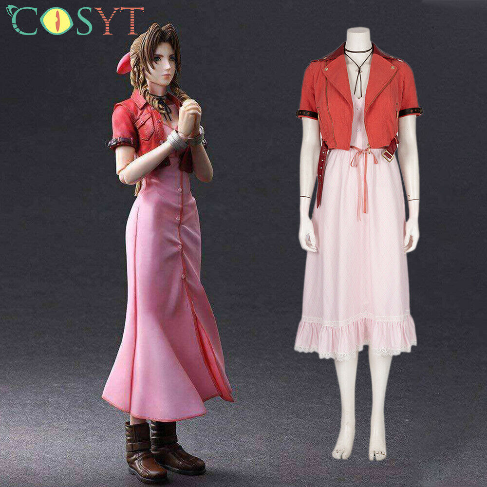 Final Fantasy Vii Remake Aerith Gainsborough Pink Dress Cosplay Costume Full Set Ebay