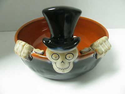 NEW 2010 Large Candy Dish Bowl Boney Bunch Skeleton Yankee Candle Halloween