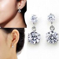 925 Sterling Silver Women Crystal Rhinestone Ear Stud Earrings Dangle Drop Gift