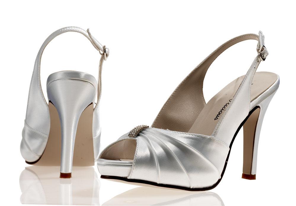 White Satin Wedding Bridal Bridesmaid Shoes 4,5,6,7,8 Pure & Precious NIKKITA