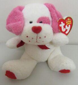 """Ty 2006 Lovesick Valentine White/Pink Puppy  7"""" Beanie Baby"""