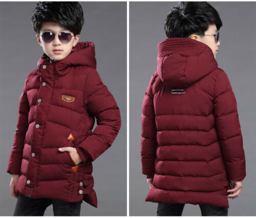 Kids Boys Hooded Warm Quilted Puffer Coat Jacket Thicken Long Parka Warm Winter