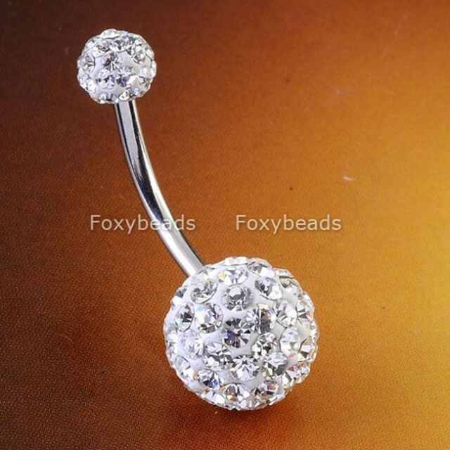 14G Clear CZ Crystal Double Gemmed Steel Navel Belly Button Ring Body Piercing