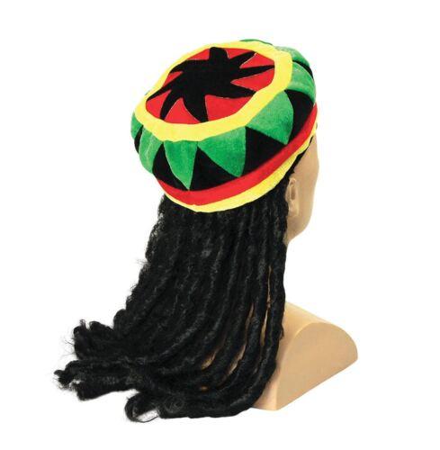 Adult Mens Jamaican Rasta Hat Dreadlocks Wig Bob Marley Caribbean Fancy Dress