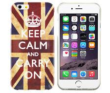 Schutzhülle f iPhone 6 6S Case Cover Etui Bumper Gel TPU Keep Calm Carry On UK