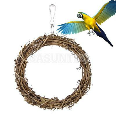 Bird Pet Rattan Swing Toys Parrot Cockatiels Budgie Finch Hanging Ring 15cm