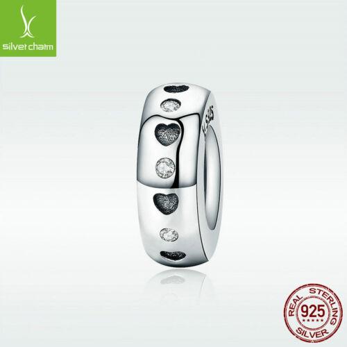 Veritable 925 Sterling Silver Charm Bead De-lovely Heart CZ Fit Bracelet Jewelry