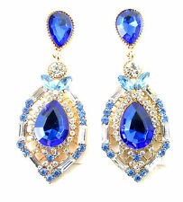 Blue Silver Gold Art Deco Earrings Drop Dangle Vintage 1920s Flapper 1930s 3AW