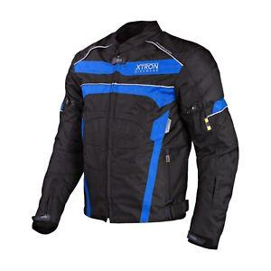 Moto-Chaqueta-de-Cordura-Pantalones-Azul-Zapatos-Cuero-Fundas-Motociclista