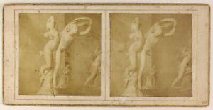 Scultura Museo Del Louvre? Parigi Foto HP Stereo PL55L4n Vintage Albumina c1855