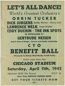 1942 Broadside Chicago CYO Dance with Dick Jurgens, Lawrence Welk, Eddy Duchin