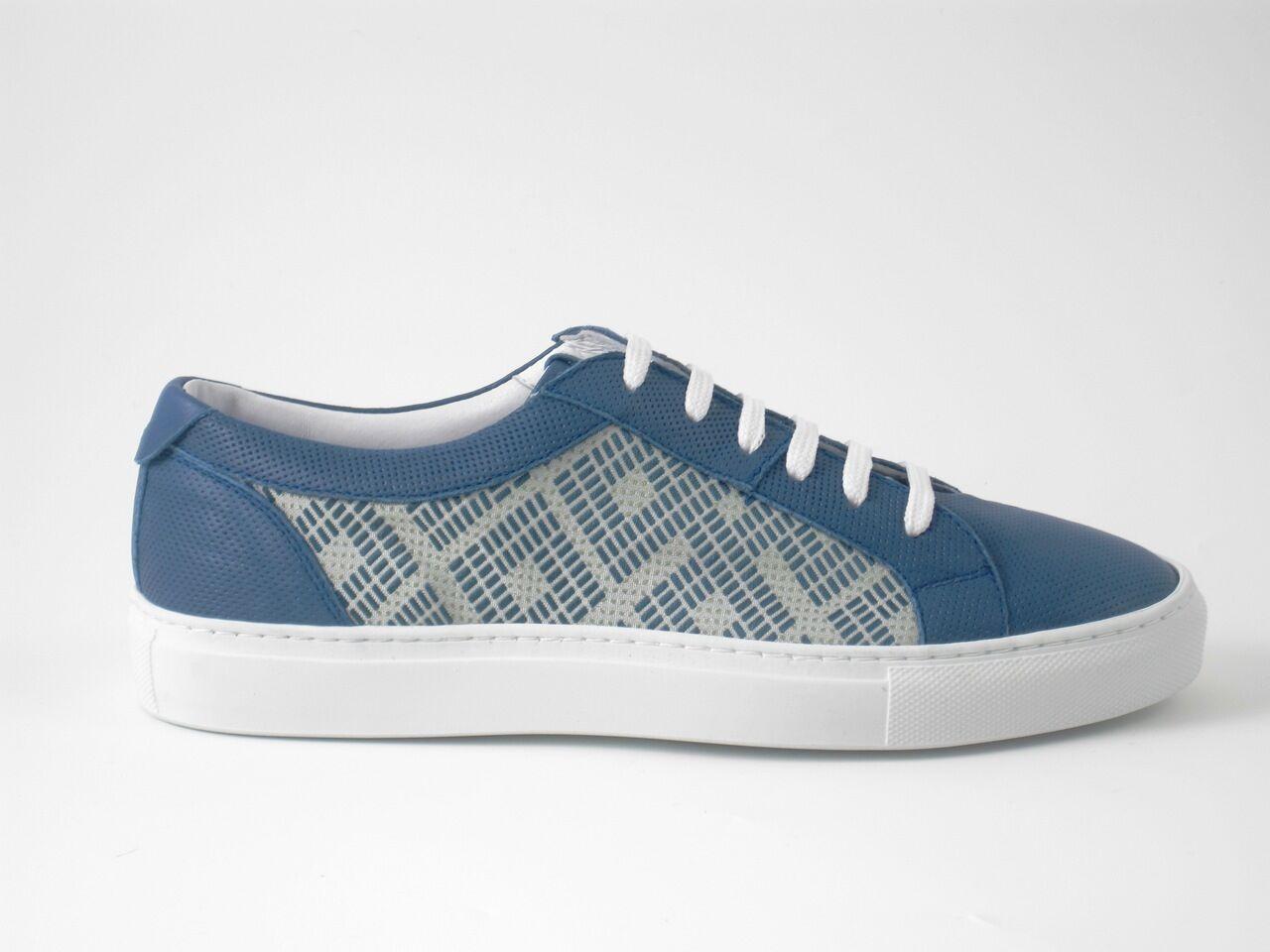 Schuhe Herren Sneaker Turnschuhe Blau Muster Gr 40 Made in Italy