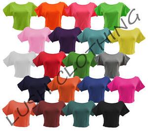 85A-GIRLS-WOMENS-PLAIN-STRETCH-CROP-CROPPED-TOP-T-SHIRT-SIZE-8-10-12-14-NEW