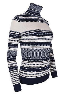 082e3952c5 NEW Tory Burch Women s JULIE  298 Blue Cream Striped Turtleneck Sweater