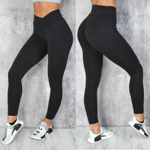Women High Waist Yoga Pants Butt Lift Ruched Leggings Workout Exercise Trousers