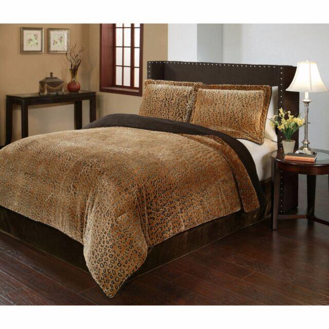 Animal Print Bedding Cheetah Comforter Set King Size Oversized Reversible  NEW