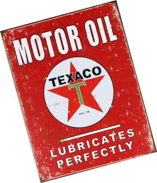 Texaco Motor Oil Weathered Tin Sign 13 x 16in