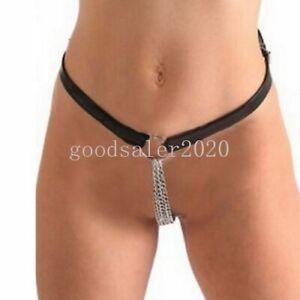 Frauen PU Leder Cut Out Tanga G-String Kette Slip Dessous Höschen Intimates Belt