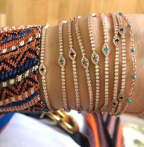 Tennis-Eye-CZ-Gemstone-Bracelet-925-Silver-Turquoise-Navy-14K-Rose-Gold-Plated