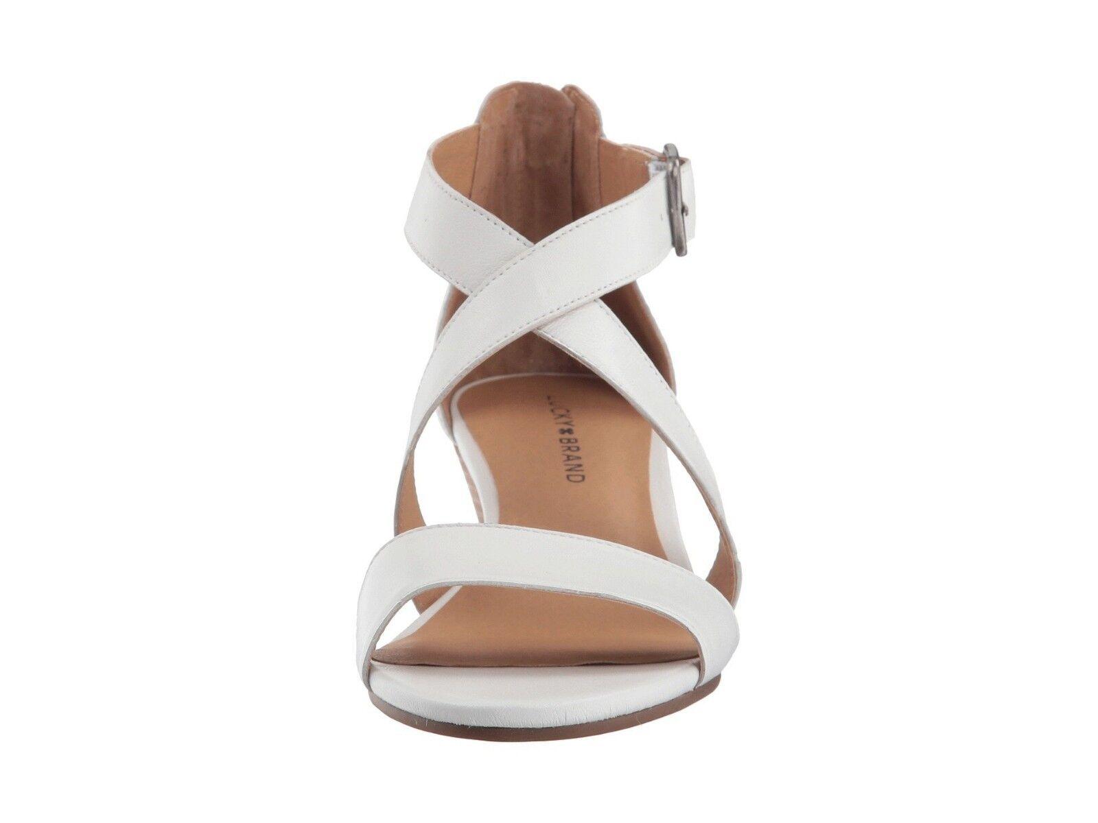 Lucky Brand Jenley Bright Weiß Italian Nappa Leder Strappy Strappy Strappy Wedge Sandale 10 626f96