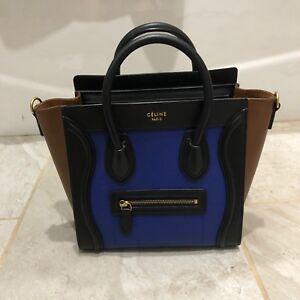 Celine Mini Luggage Tricolor Chalk Black Olive Tote Handbag Purse ... 26887f1181e25