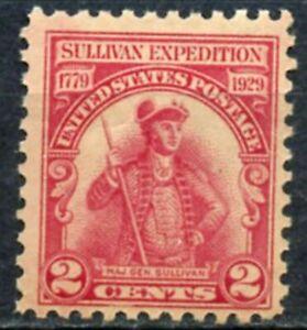 Scott # 657-One Major général Sullivan EXPEDITION Stamp - 1929-Original Gum-neuf sans charnière