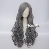 75CM Lolita Long Wavy Women Grandma Gray Fashion Party Cosplay Hair Wig+ Wig Cap