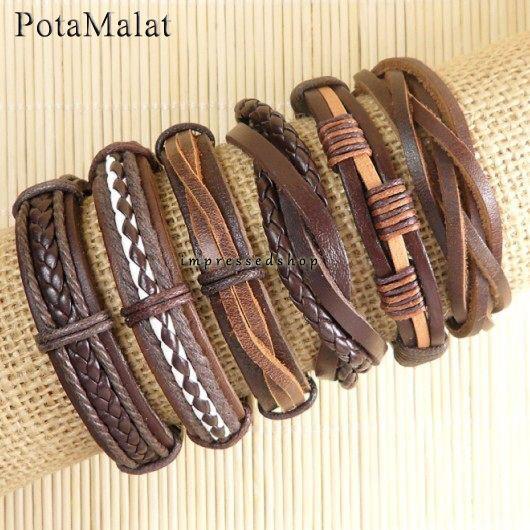 PotaMalat 6pcs handmade genuine charm leather wrap bracelets for men-D64