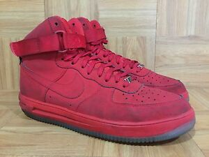 RARE-Nike-Lunar-Force-1-Hi-Strap-University-Red-Ice-Clear-Sole-13-705436-600