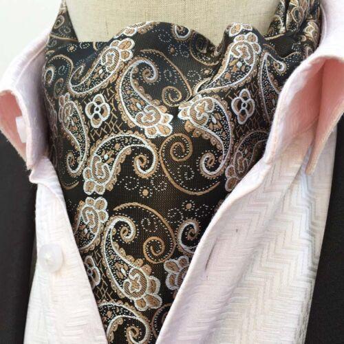 Homme Paisley Floral Noir Cravate En Soie Cravate Ascot Cravat Pocket Square Set Lot
