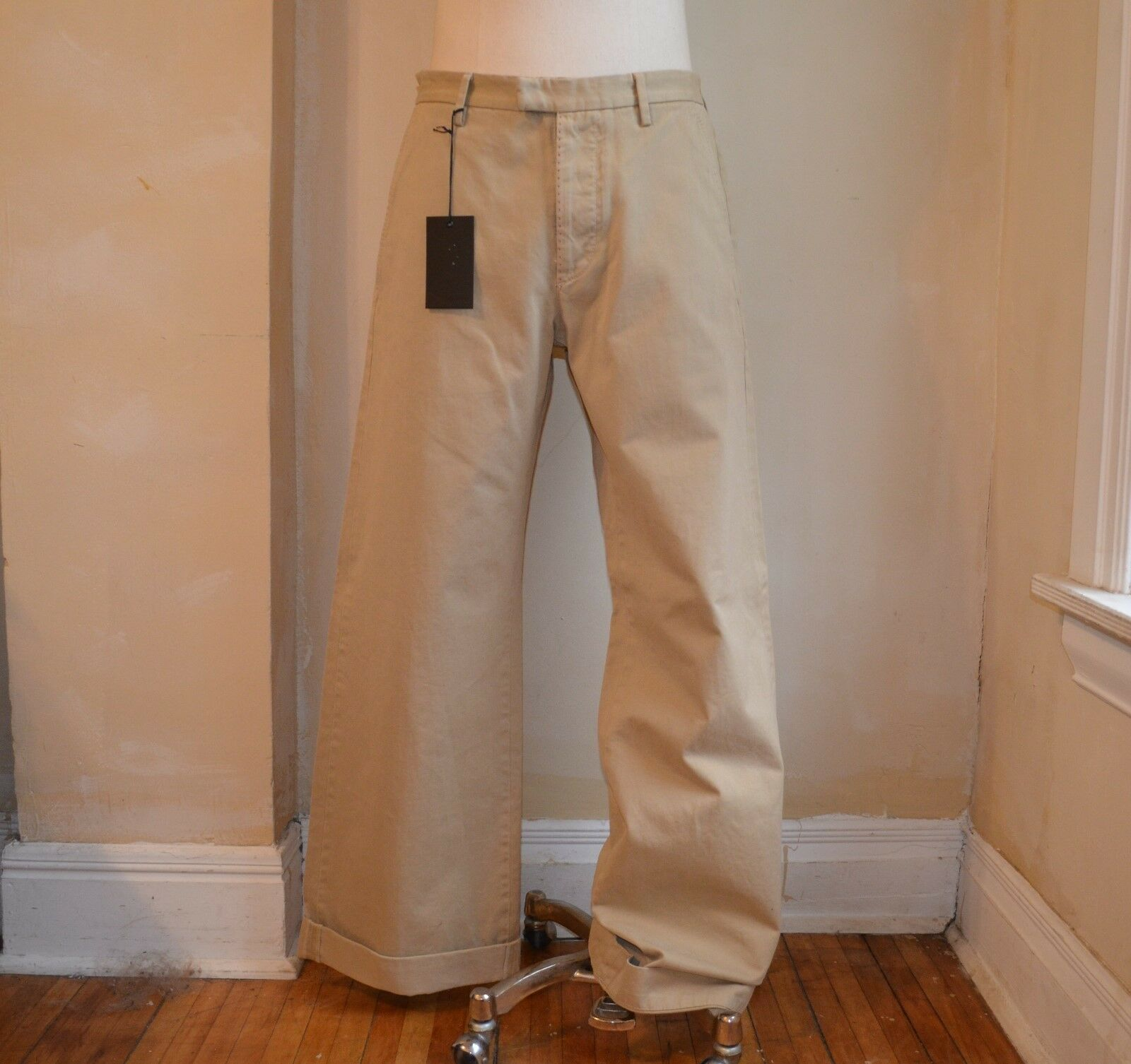 DSQUARED² AMAZING RUNWAY KHAKI BEIGE WIDE LEG CLASSIC DRESS PANTS 46 30 CASUAL