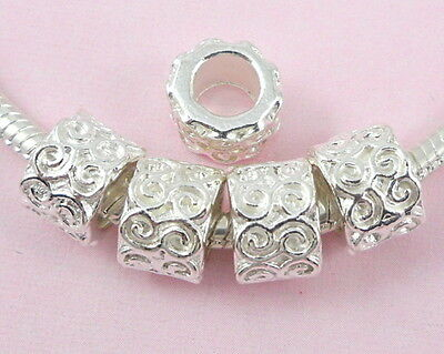 30pcs Silver Plated Big Hole Charms Beads For European Bracelet NY1