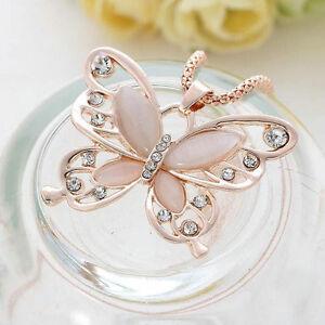 Fashion Jewelry Women Rose Gold Opal Butterfly Charm Pendant Long