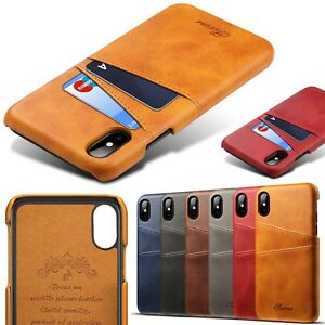 Back-Credit-Card-Slot-Premium-Slim-Leather-Case-Cover-For-iPhone-6S-7-8-Plus-Y