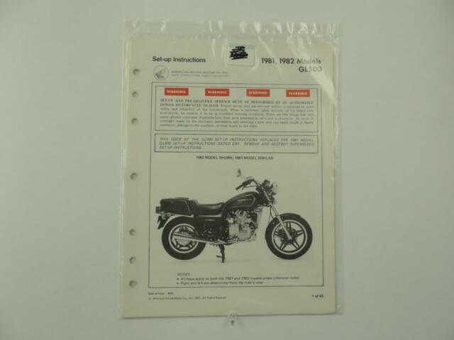 1981 1982 Gl500 Silver Wing Set Up Instructions Factory