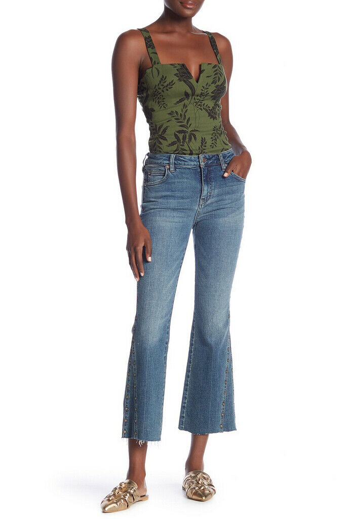Free People Womens Studded Crop Flare OB814419 Jeans Slim bluee Size 26W