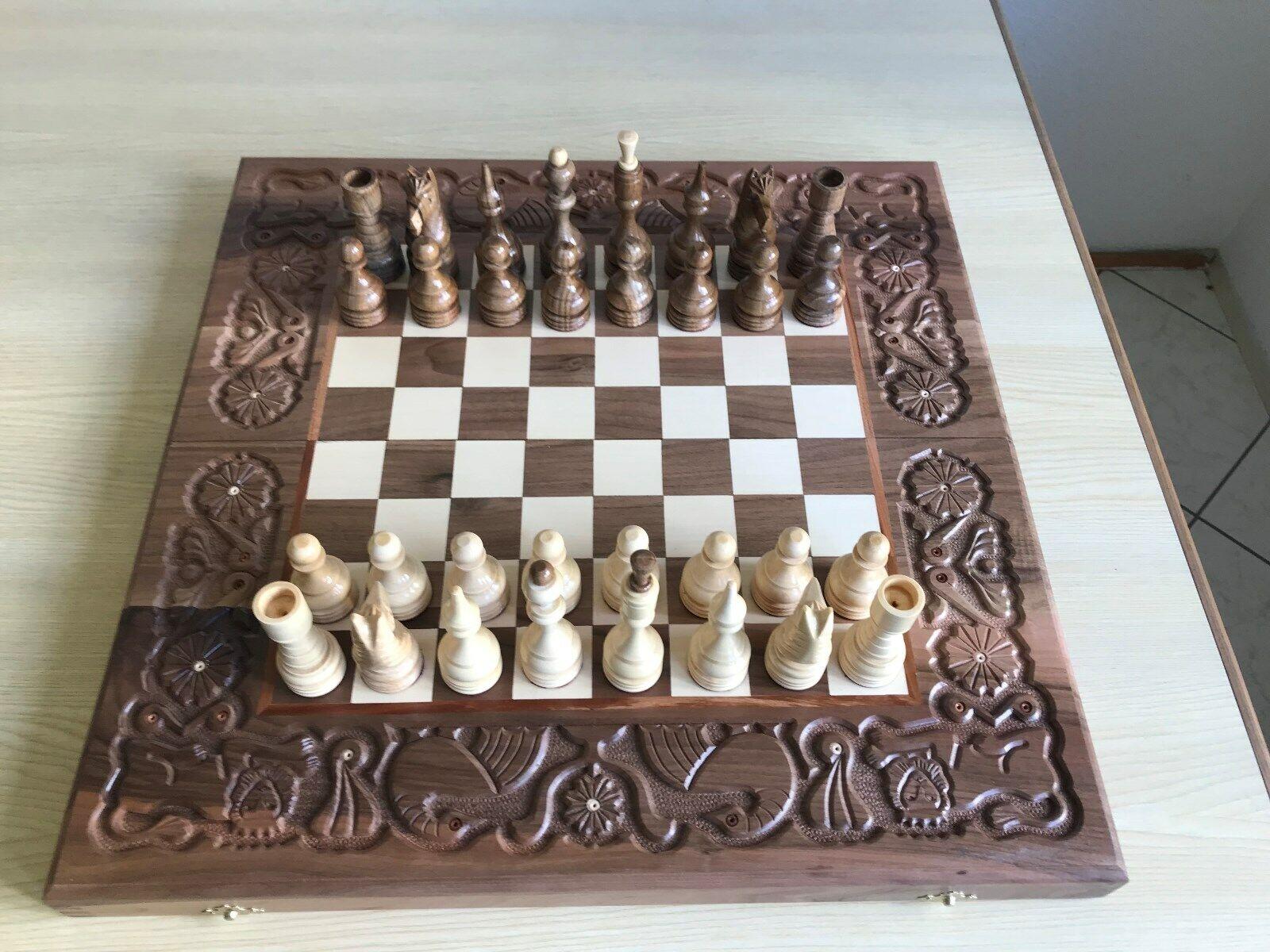 Schach Schach Schach Dame Backgammon Holz Schachfiguren Schachspiel klappbares Schachbrett 9be908