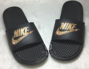 b89d4ab58a4d Bling Nike Slides Custom GOLD and BLACK Nike Sandals Bedazzled Nike ...