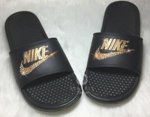 2ac081a5ffd222 Bling Nike Slides Custom GOLD and BLACK Nike Sandals Bedazzled Nike ...