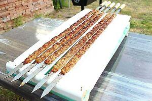 Edelstahl-Adana-Kebab-Schaschlikspiesse-Holzgriff-Koeftespiesse-Spiesse-Fleischspiess