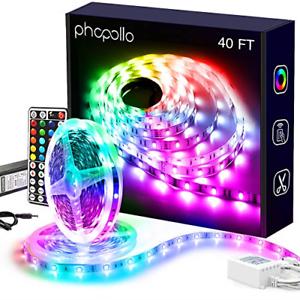 Phopollo led Lights 40 FT for Bedroom Color Changing 360 LEDs Bright led Light
