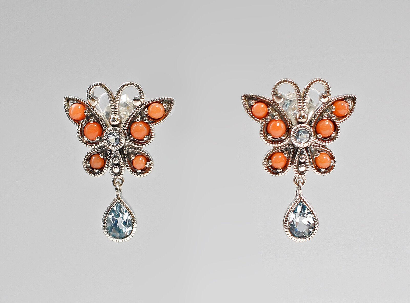 9927240 925 silver Koralle-bluetopas-Ohrringe Style Antique Papillon