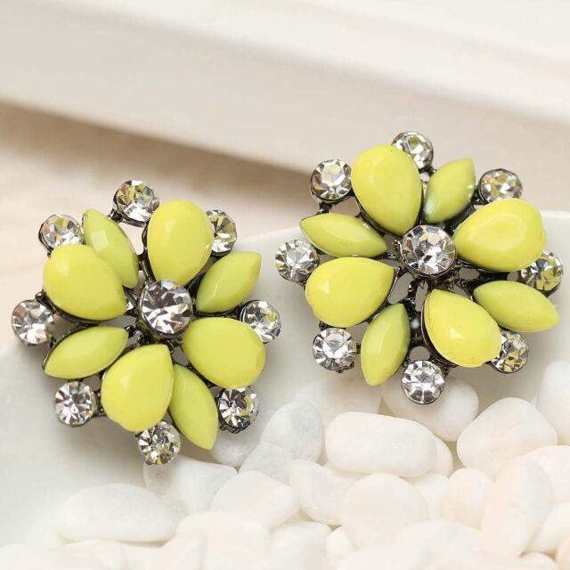 Handmade design women gorgeous bib statement  mixed crystal long Earrings e289