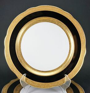 Image is loading 2-VINTAGE-JACKSON-CUSTOM-CHINA-BLACK-GOLD-RESTAURANT- & 2 VINTAGE JACKSON CUSTOM CHINA BLACK GOLD RESTAURANT WARE DINNER ...