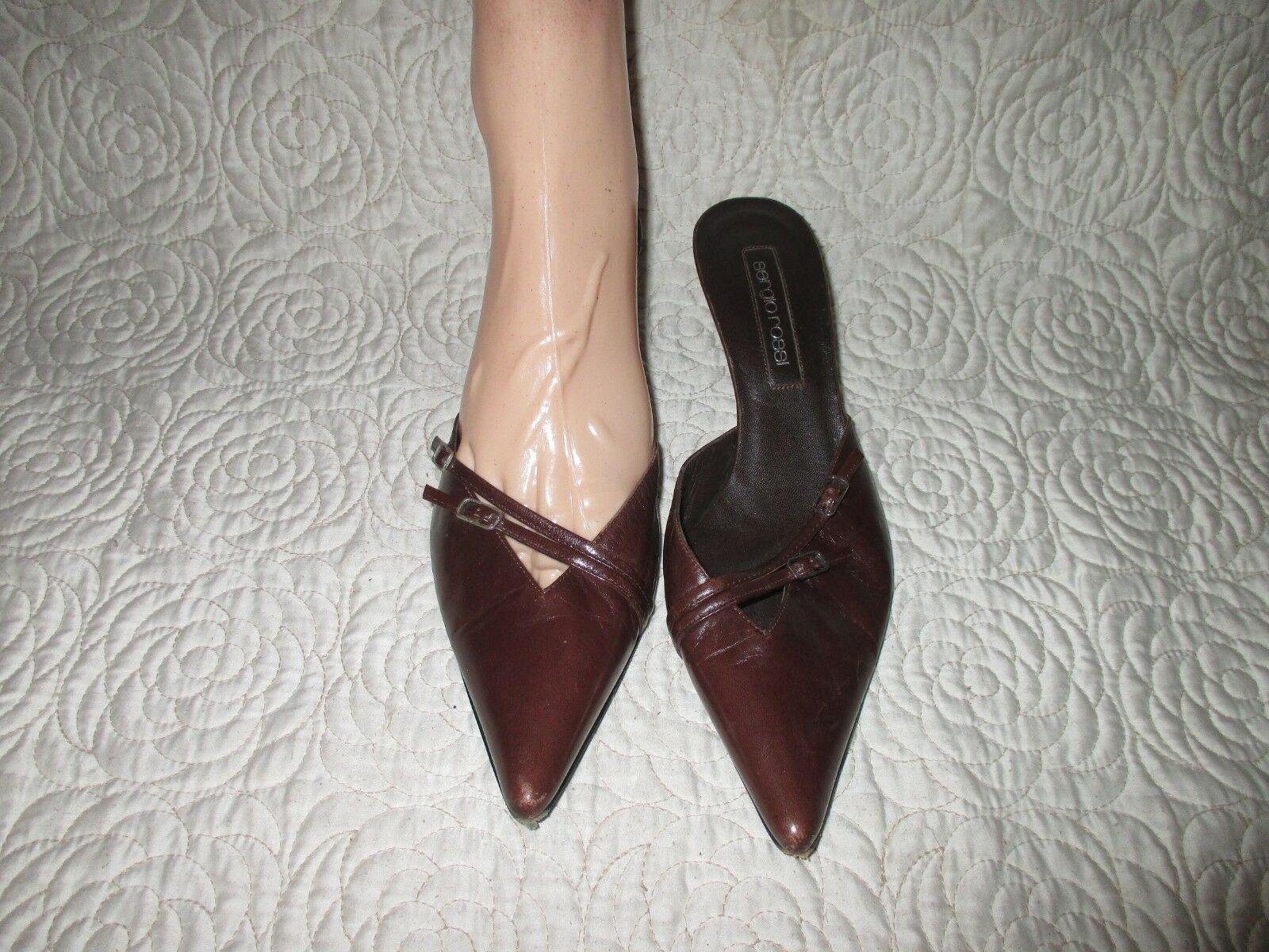 Sergio Rossi Brown leather  Mules  with buckle designs   SIZE 39