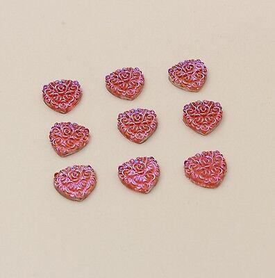 50PCS 10MM Resin heart flatback Scrapbooking for phone/wedding/crafts pink AB 3